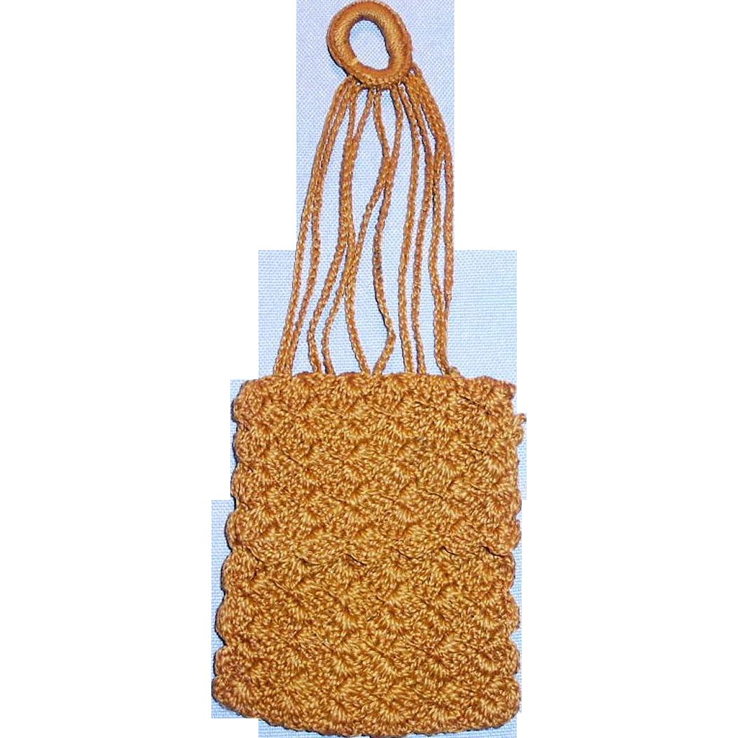 Antique Brown Cotton Fancy Hand Knit Doll Purse