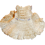 Antique Knit Two Piece Off White Cotton All Bisque Doll Clothing