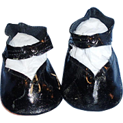 Vintage Black Oilcloth Center Snap Doll Shoes