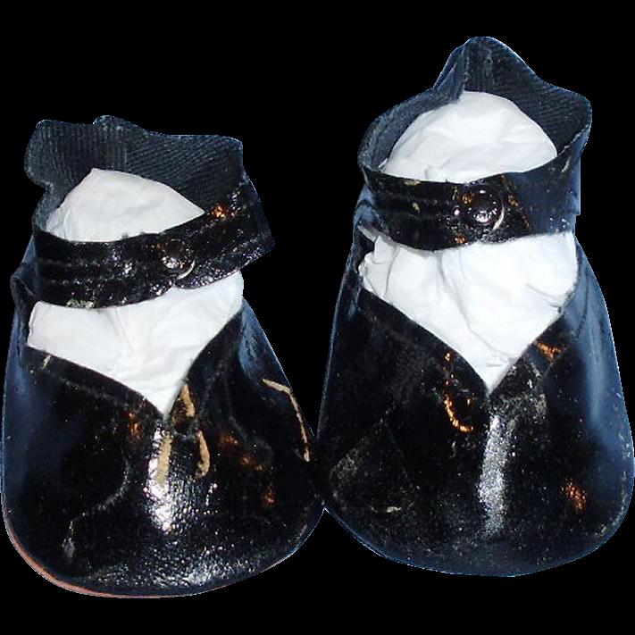 Vintage Black Oilcloth Center Snap Doll Shoes