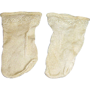 Vintage 1930s Cream Color Nylon Doll Socks