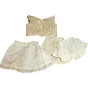 Antique Small Size White Cotton And Lace Doll Underwear