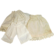Antique Small Size Off White Cotton And Lace Doll Underwear
