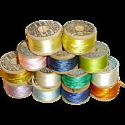 Antique Multi Color Silk Spools Of Thread