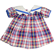 1930 Era Plaid Cotton Doll Dress And Teddy