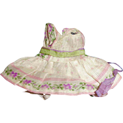 Small Cotton Print Antique Doll Dress For All Bisque