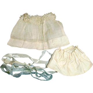 Antique White Lace Organdy Small Doll Dress With Blue Ribbon