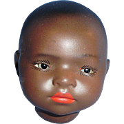 Antique German Heubach Koppelsdorf 399 DRGM Black Painted Baby Doll Head