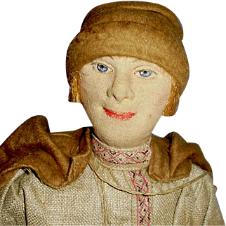 "16"" All Cloth Painted Face Russian Village Boy Doll"
