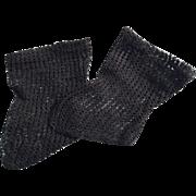 Antique German Black Fancy Knit Cotton Doll Socks