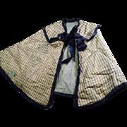 Antique Blue Silk Plaid Doll Cape