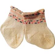 Vintage White Knit Cotton And Stripe Doll Socks