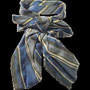 Antique Blue White Black Silk Doll Bow Tie