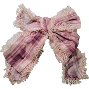 Antique Purple Plaid Cloth Bow For Doll
