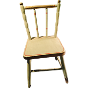 Antique Painted Green N Red Wooden Doll Chair