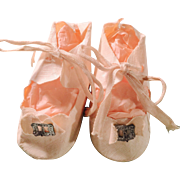Vintage White Oilcloth Tie Doll Shoes