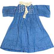 Small Antique Hand Stitched Blue Cotton And Lace Doll Dress