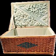 Antique Split Wood Doll Display Basket