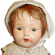 Vintage Tin Sleep Eye Early Composition And Cloth Child Doll