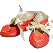 Antique Red Leather Size 7 German Doll Shoes