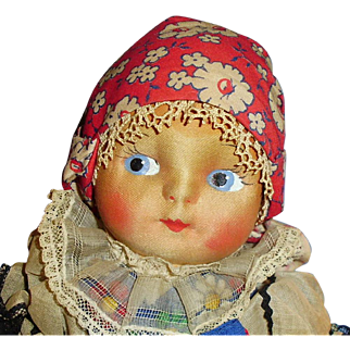 Vintage All Cloth Doll With Painted Features European Costume