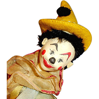Vintage 13 In All Cloth Painted Face Clown Playing Drum