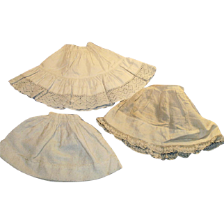 Antique Small Size White Cotton And Lace Doll Half Slips