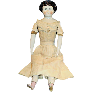 Antique German China Doll Molded Bow And Pink Boots