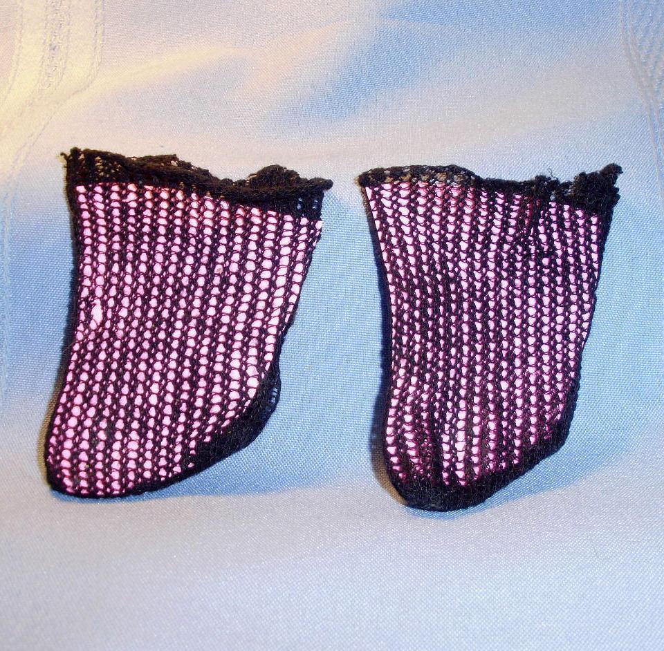 1890's German Black Cotton Open Weave Doll Socks