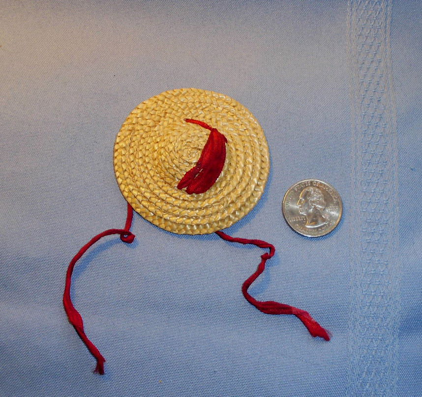 Small Dolls Natural Straw and Red Ribbon Tie Doll Hat