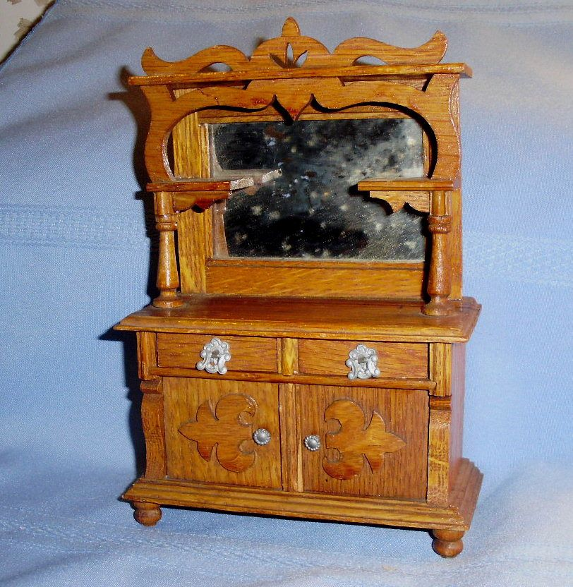 Antique Oak Wooden Dollhouse Buffet with Mirror