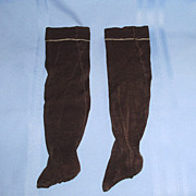 1800's Long Dark Brown Cotton with White Stripe Doll Stockings