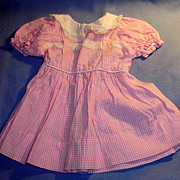 Vintage 1950's Pink and White Cotton Shirtwaist Doll Dress