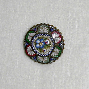 Old Floral Mosaic Pin Made in Italy