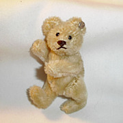 Old White Mohair Steiff Teddy Bear with Silver Button