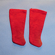 Antique Red Cotton Doll Stockings
