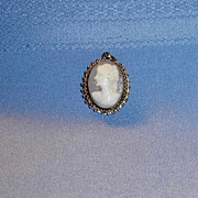 Old 800 Silver Carved Shell Cameo Pendent
