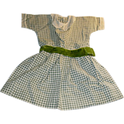 1910 Gingham Doll Dress with Velvet Sash