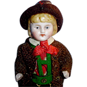 Antique German All Bisque Boy with Molded Blonde Hair