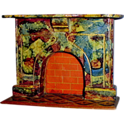 Spaffords Label Painted Faux Marble Wooden Dollhouse Fireplace