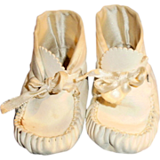 Old White Leather Large Doll Baby Booties