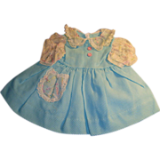 Vintage 1950's Blue Pique and White Eyelet Doll Dress