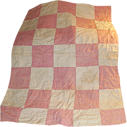 Antique Pink and White Cotton Block Pattern Doll Quilt