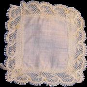 1890's Fine White Cotton and Delicate Lace Doll Handkerchief