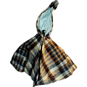 Antique German Doll Plaid Wool Short Doll Cape