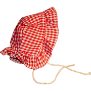 Antique Red and White Gingham Doll Bonnet