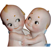 Antique Rose O'Neill German All Bisque Action Kewpie Huggers