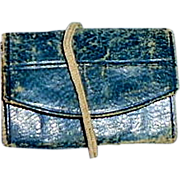 1860s French Fashion Blue Leather Folding Doll Purse