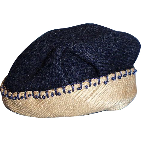 1910 Navy Blue and Tan Wool Doll Hat with Embroidered ...