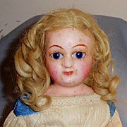 Antique German 1860s Wax Over Doll All Original Clothing - Red Tag Sale Item